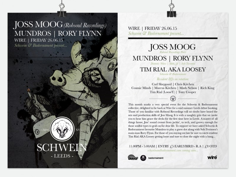 Joss Moog / Mundros / Rory Flynn & residents @ Wire, Leeds – 26/06/15