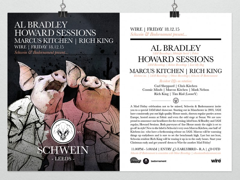 Al Bradley & Howard Sessions (3am Recordings) & residents @ Wire, Leeds – 18/12/15