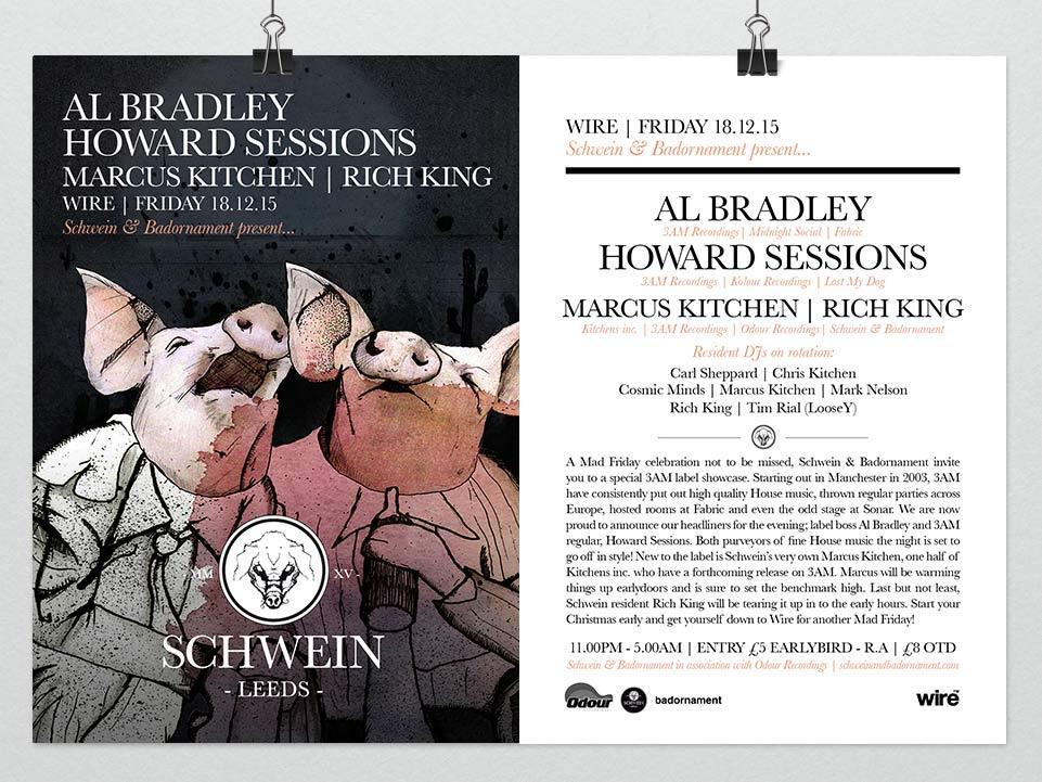 Al Bradley & Howard Sessions (3am Recordings) & residents @ Wire, Leeds – 18/12/15